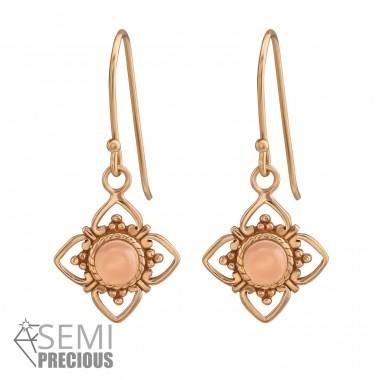Flower - 925 Sterling Silver Earrings with semi-precious stones A4S37972