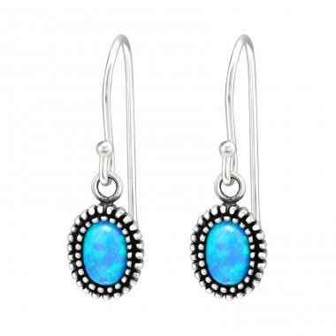 Blue Opal in oval shape - 925 Sterling Silver Earrings With Semi-Precious Stones & Opal A4S41034