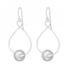 Dangle - 925 Sterling Silver Earrings with Pearls A4S18847