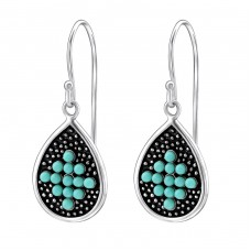 Teardrop - 925 Sterling Silver Earrings with Pearls A4S25872