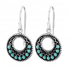 Round - 925 Sterling Silver Earrings with Pearls A4S25876