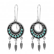 Ethnic - 925 Sterling Silver Earrings with Pearls A4S35310