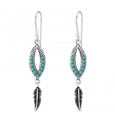 Ethnic - 925 Sterling Silver Earrings with Pearls A4S35312