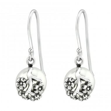 Flower - 925 Sterling Silver Earrings with Pearls A4S37061
