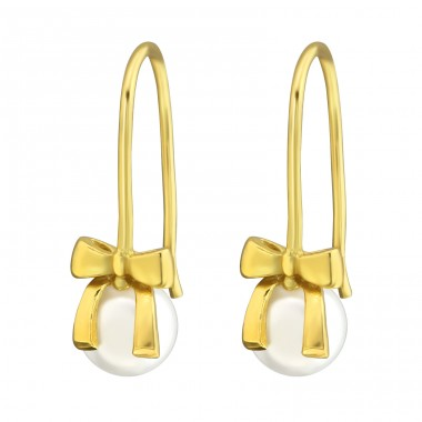 Bow - 925 Sterling Silver Earrings with Pearls A4S37501