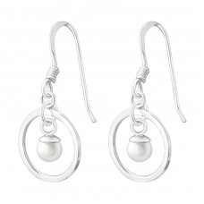 Circle - 925 Sterling Silver Earrings with Pearls A4S37801