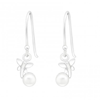 Dragonfly - 925 Sterling Silver Earrings with Pearls A4S40122
