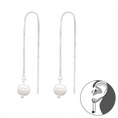 Go Through earrings - 925 Sterling Silver Earrings With Pearls A4S40367