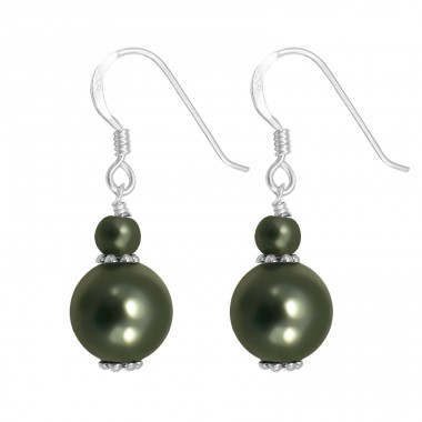 Dangle - 925 Sterling Silver Earrings with Pearls A4S8753