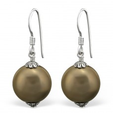 Dangle - 925 Sterling Silver Earrings with Pearls A4S8835