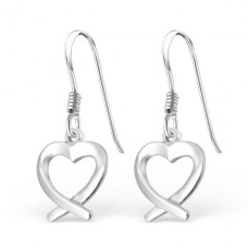 Unclosed Heart - 925 Sterling Silver Basic Earrings A4S1782