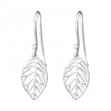 Leaf - 925 Sterling Silver Plain Earrings A4S20113
