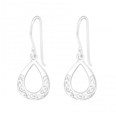 Drop - 925 Sterling Silver Plain Earrings A4S20114