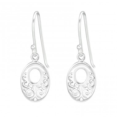 Filigree Oval - 925 Sterling Silver Basic Earrings A4S20124