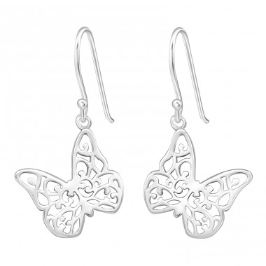 Butterfly - 925 Sterling Silver Plain Earrings A4S20125