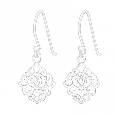 Flower - 925 Sterling Silver Plain Earrings A4S20129