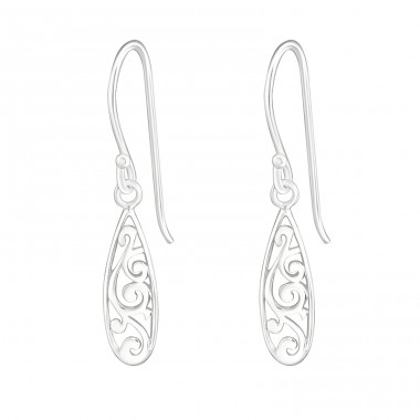 Filigree - 925 Sterling Silver Plain Earrings A4S20143
