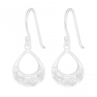 Drop - 925 Sterling Silver Plain Earrings A4S20148
