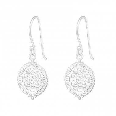 Flower - 925 Sterling Silver Basic Earrings A4S20149