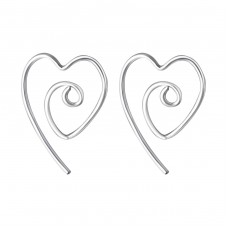 Wire Heart - 925 Sterling Silver Basic Earrings A4S20234