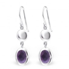 Oval - 925 Sterling Silver + Glass Basic Earrings A4S24514
