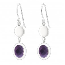 Oval - Glass + 925 Sterling Silver Basic Earrings A4S24514