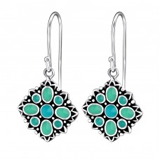 Square - 925 Sterling Silver Basic Earrings A4S25882