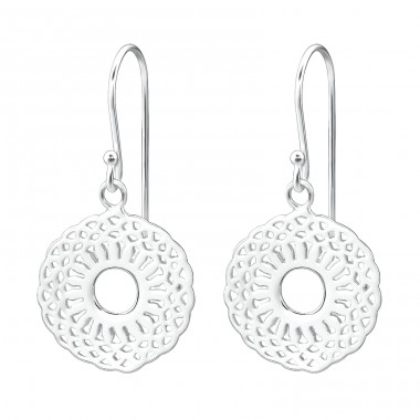 Patterned - 925 Sterling Silver Basic Earrings A4S26625