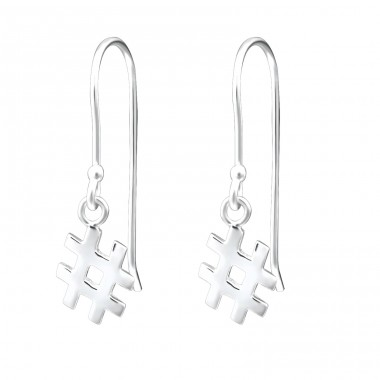Hashtag - 925 Sterling Silver Basic Earrings A4S26642
