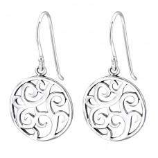 Round - 925 Sterling Silver Basic Earrings A4S27051