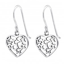 Heart And Star - 925 Sterling Silver Basic Earrings A4S27055