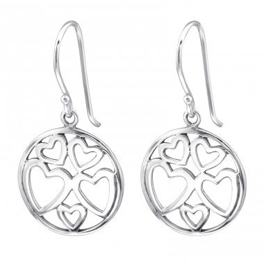 Hearts - 925 Sterling Silver Basic Earrings A4S27056