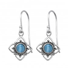 Oxidized - 925 Sterling Silver Basic Earrings A4S30291
