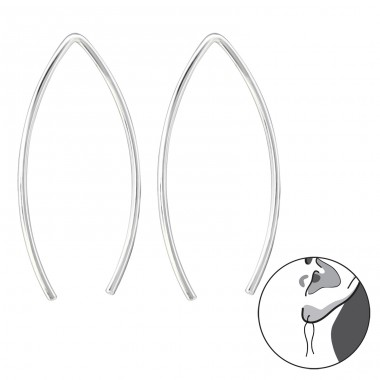 Wire - 925 Sterling Silver Basic Earrings A4S30611