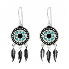 Ethnic - 925 Sterling Silver Basic Earrings A4S31292