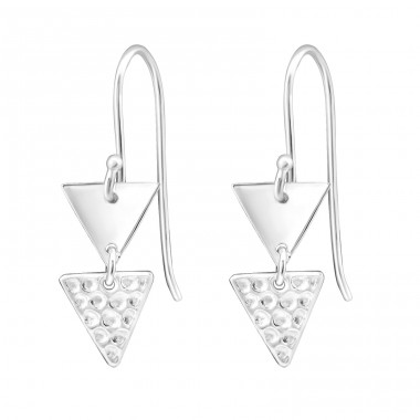 Double Triangle - 925 Sterling Silver Basic Earrings A4S31918