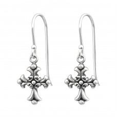 Gothic Cross - 925 Sterling Silver Basic Earrings A4S32149