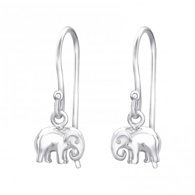 Elephant - 925 Sterling Silver Basic Earrings A4S32156