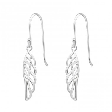 Wing - 925 Sterling Silver Basic Earrings A4S32159
