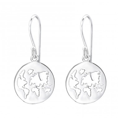 World - 925 Sterling Silver Basic Earrings A4S32166