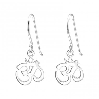 Om Symbol - 925 Sterling Silver Basic Earrings A4S32167