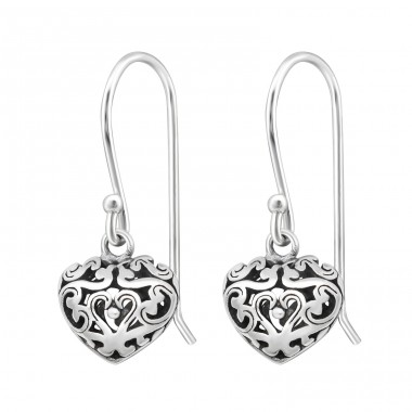Heart - 925 Sterling Silver Basic Earrings A4S33768