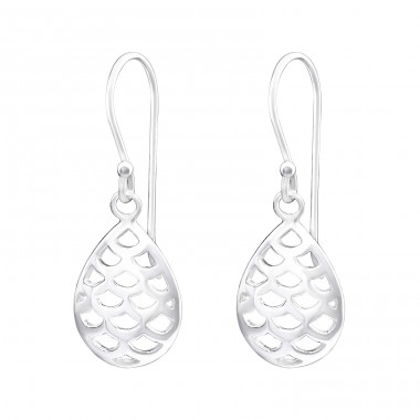 Teardrop - 925 Sterling Silver Basic Earrings A4S34022