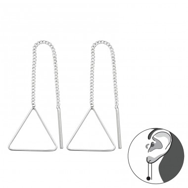 Thread Through Triangle - 925 Sterling Silver Basic Earrings A4S34864