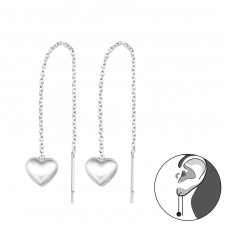 Thread Through Heart - 925 Sterling Silver Basic Earrings A4S34866