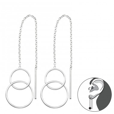 Double Round - 925 Sterling Silver Basic Earrings A4S34867