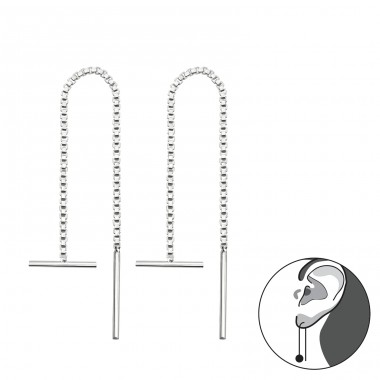 Thread Through Bar - 925 Sterling Silver Basic Earrings A4S34868