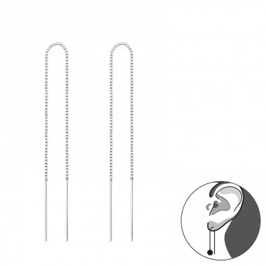 Thread Through - 925 Sterling Silver Basic Earrings A4S34869