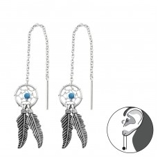 Dreamcatcher Thread Through - 925 Sterling Silver Basic Earrings A4S34871