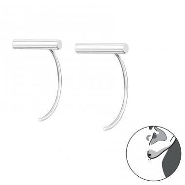 Bar Half Hoop - 925 Sterling Silver Basic Earrings A4S34876